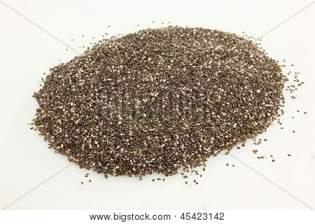Organic Chia Seeds On White