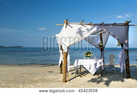 Wedding ceremony dining place on a tropical beach of Koh Samui island,  Thailand
