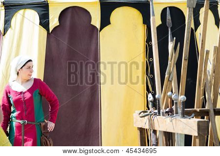 Girl Dressed As A Medieval Lady On Colored Background