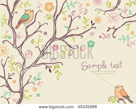card with birds - invitation for party or wedding
