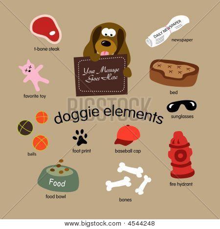 Doggie Elements Vector Set