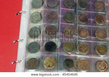 close up of coins collection