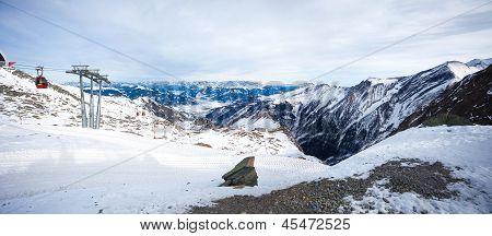 Cable Car Going To Kitzsteinhorn Peak, Kaprun, Austria