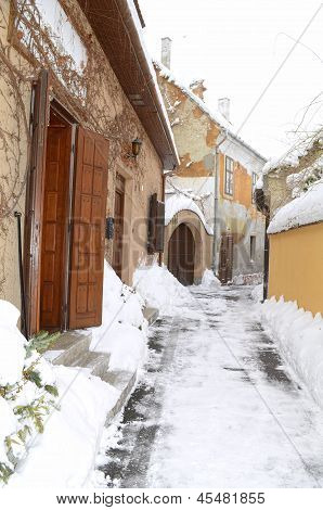 winter alley in Gyor