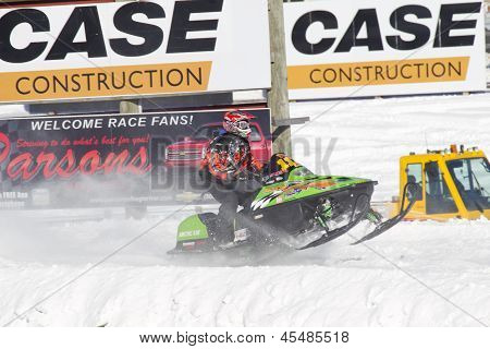 Lime Green Arctic Cat Sno Pro Snowmobile Racing