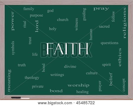 Faith Word Cloud Concept on a Blackboard with great terms such as power worshiop spirit divine and more. poster