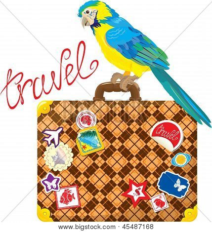 poster of Travel concept - Suitcase with journey stickers and parrot isolated on white background