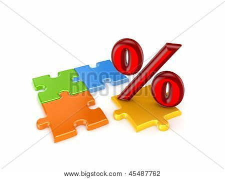 Puzzles and symbol of percents.Isolated on white background.3d rendered. poster