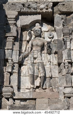 Female Deity On Relief Carving In Buddhist Temple, Indonesia