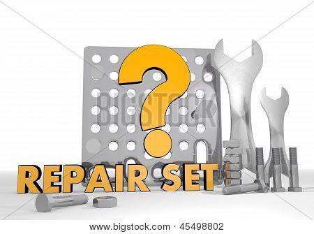 3d render of a mechanical question symbol repair set