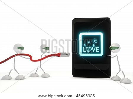 love symbol on a smart phone with three robots