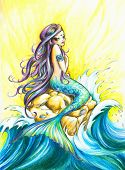 Beautiful mermaid looking at the sea.Picture created with colored pencils. poster