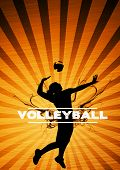 Volleyball jumping girl sport background with space poster