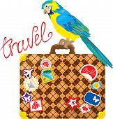 Travel concept - Suitcase with journey stickers and parrot isolated on white background poster