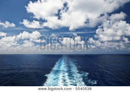 Propeller Wake On The Wide-open Blue Sea