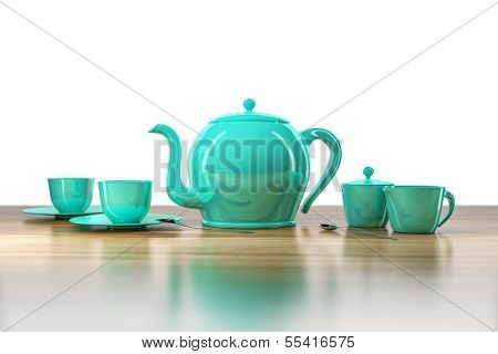 An image of a teapot and teacups