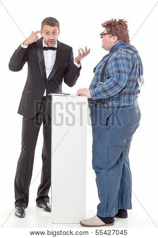 Elegant Man Arguing With A Country Yokel