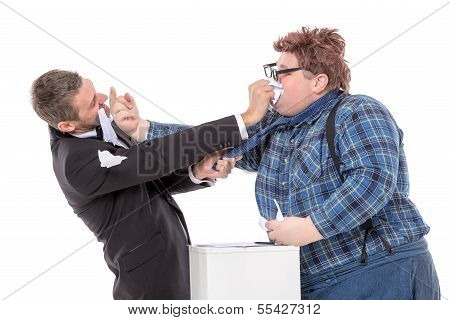 Two Men Resorting To Fisticuffs