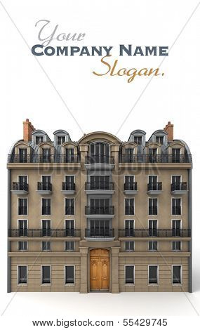 3D rendering of a typically Parisian building