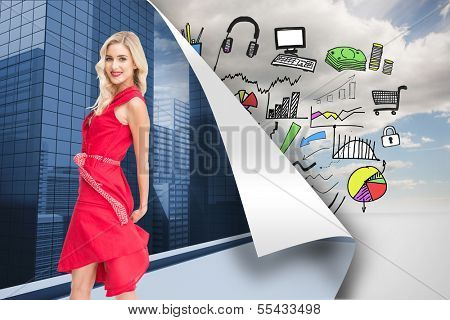 Composite image of smiling attractive blonde turning poster