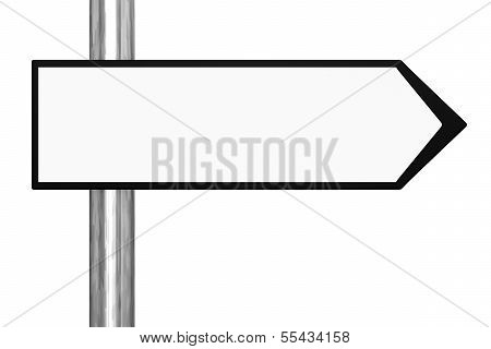 Blank Black and White Road Sign