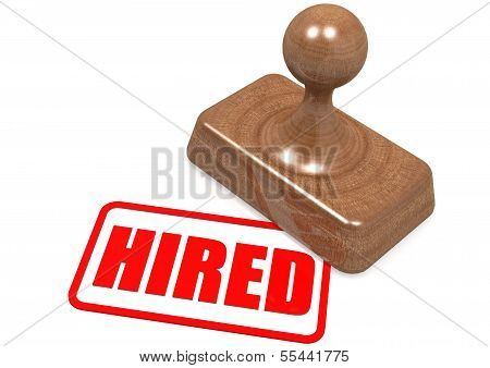 Hired word on wooden stamp
