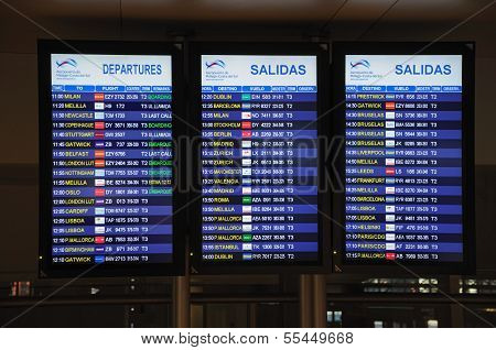 Flight information monitors, Malaga, Spain.