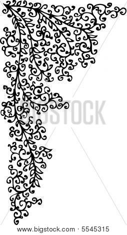 Refined vignette XXXVIII-LVII. Eau-forte black-and-white swirl vector illustration. poster