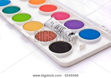 A box full of colorful gouache