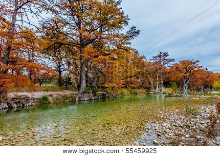 Fall Foliage with Clear River at Garner State Park, Texas
