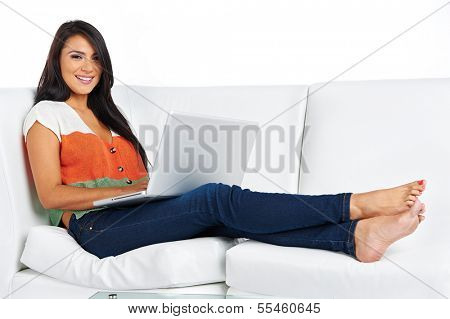 casual woman working from home