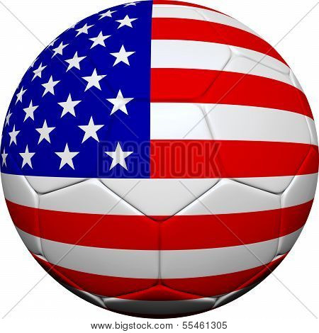 United States Flag With Soccer Ball