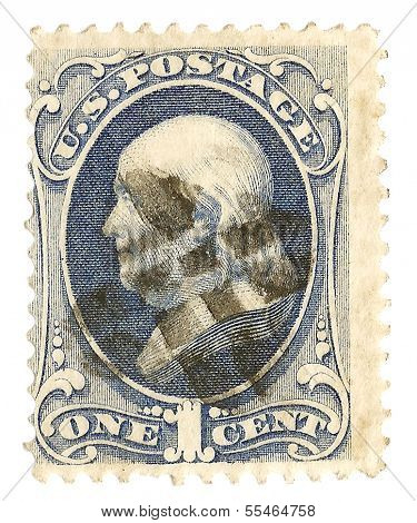 United States Stamp with Ben Franklin Portrait
