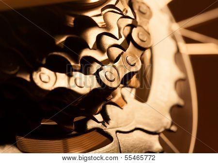 Rear bike cassette with chain. macro