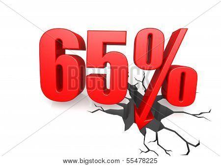 Sixty five percent down