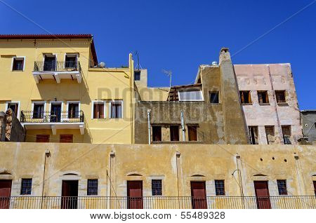 Old Yellow Building On The Territory Of The Maritime Museum In The City Of Chania, Crete, May 2013