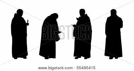 Christian Monks Silhouettes Set 1