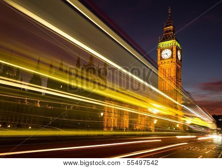 Big Ben and light trail