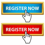 Register now set on a white background poster