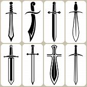 Set of 8 Sword Icons and Signs poster