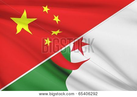 Series Of Ruffled Flags. China And People's Democratic Republic Of Algeria.