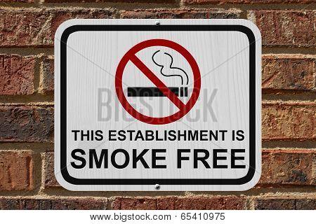 Smoking Free Establishment Sign