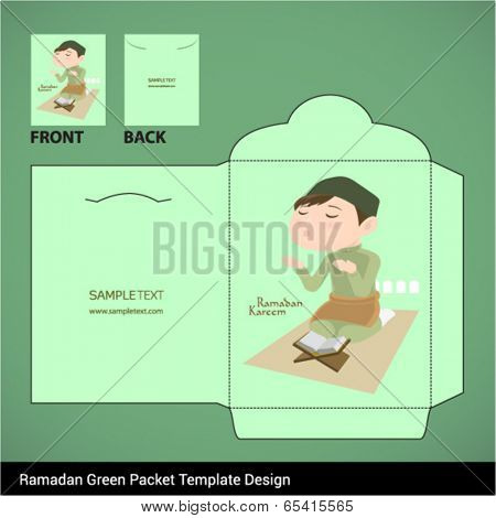 Vector Muslim Boy Praying Hari Raya Ramadan Money Green Packet Design. Translation: Ramadan Kareem - May Generosity Bless You During The Holy Month.