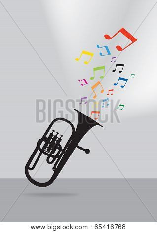 Trumpet Silhouette In Colorful Musical Concept On Gray Background