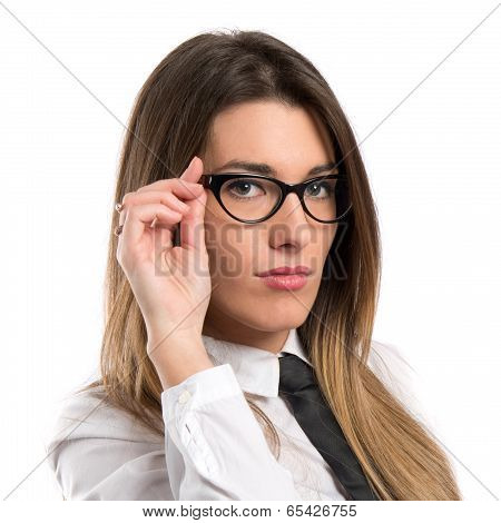 Young Business Woman With Glasses Over White Background