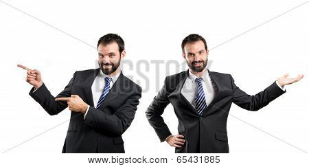 Businessman Making Showing Over Isolated White Background