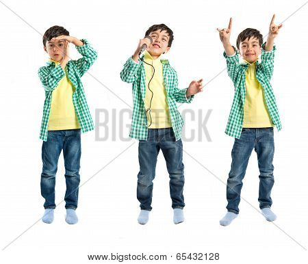 Kid Singing, Doing Time-out Gesture And Making Horn Sign