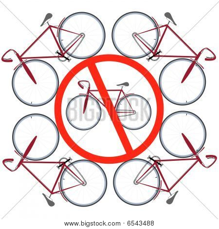 bicycles not allowed here, abstract drawing; vector art illustration poster