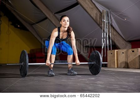 Gorgeous young woman lifting some weights as part of the workout of the day in a gym poster