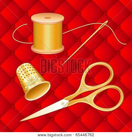 Gold Sewing Set, antique scissors, red quilted background